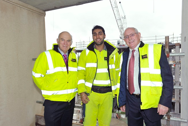 Vince Cable MP, Jagjeet Singh Panesar and Ray O'Rourke